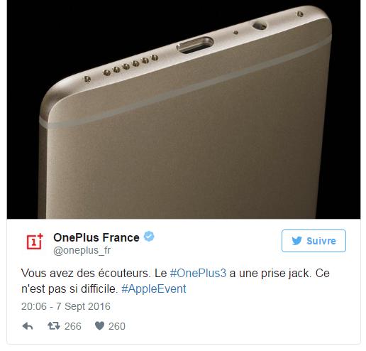 OnePlus 3 se moque de iPhone de l'abscence de la prise jack
